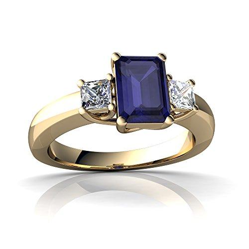 14kt Yellow Gold Sapphire and Diamond 7x5mm Emerald_Cut Three Stone Trellis Ring - Size (Emerald Cut Yellow Sapphire)