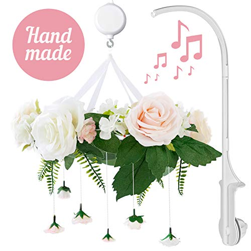 Rose Flower Baby Mobile with Music Box & Crib Arm. Handmade Floral Baby Crib Mobile. Girl Nursery Decor, Baby Shower Gift