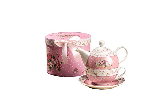 London Boutique Vintage Rose Flower Victoria Flora Porcelain Tea for One Teapot and Cup suacer in Gift Box (Pink)