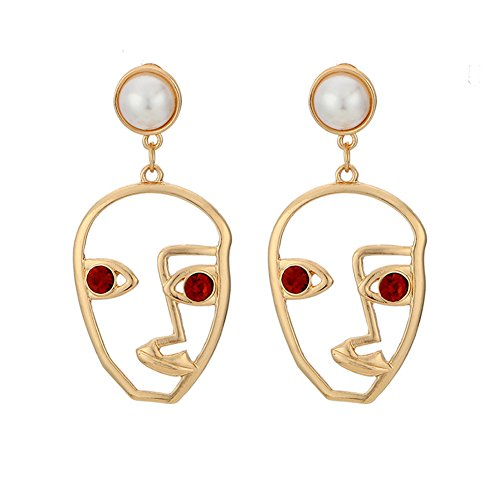 [Zealmer Punk Human Face Earrings Hollow Out Dangling Color Gold Stud Earrings] (Hollow Face)