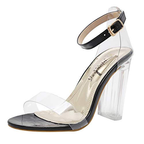 (MmNote Women Shoes, Women's Single Band Classic Comfortable Chunky Block Clear High Heel Pump Sandals Dress Shoes Black)