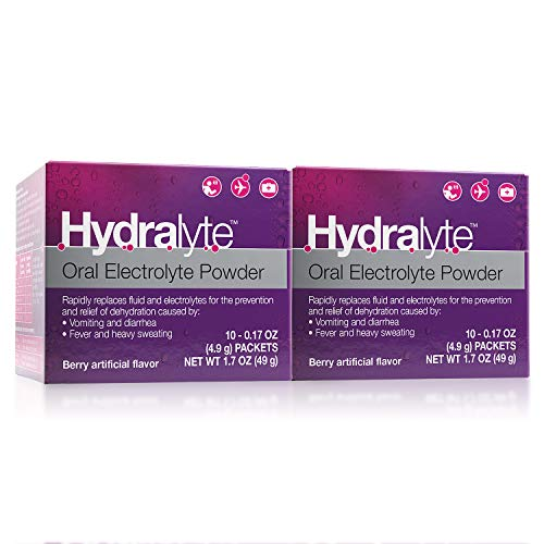 Effervescent Packets Go - Hydralyte Oral Electrolyte Powder, 2-pack, On-The-go Clinical Hydration Formula for Hydralyte Drink (Berry, 10 Count x 2)