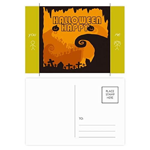 Tree Happy Ghost Fear Halloween Friend Postcard Set Thanks Card Mailing Side -