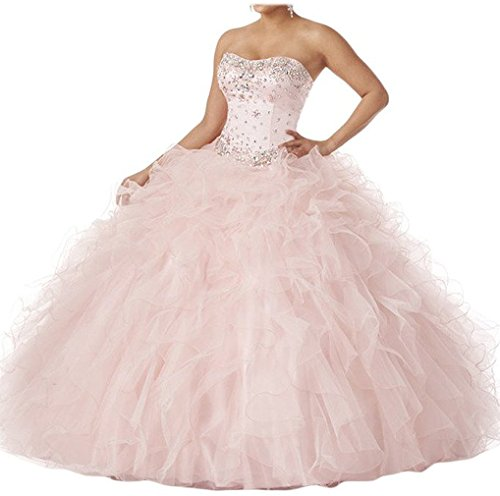 Dearta Women's Ball Gown Sweetheart Quinceanera Dresses US 12 Blush (Big Poofy Dresses)