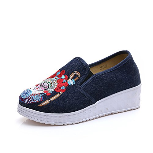 Chinese Embroidery Shoes Chinese style embroidered Canvas Shoes dancing shoes loafers navy