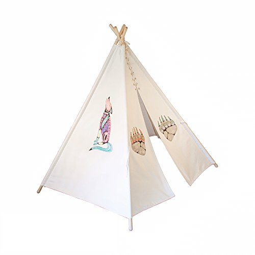 White Canvas 6' Kids Play Teepee Tent, Paint Your Own Teepee, 100% Cotton by Teepee - Freedom Hut