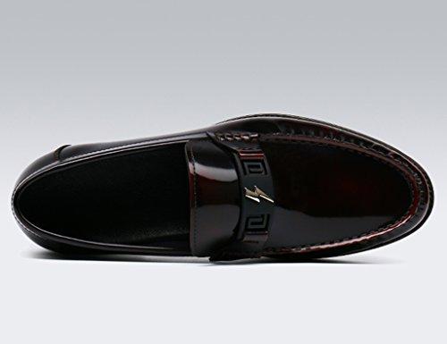Zapatos Clásicos de Piel para Hombre Zapatos de cuero de los hombres de primavera Zapatos ocasionales Lounger Negocio de estilo británico ( Color : Vino rojo , Tamaño : EU 41/UK7 ) Vino Rojo