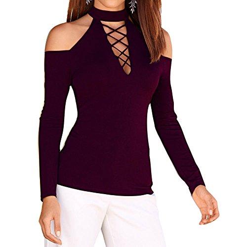 Slim Moda Maniche Invernali S Spalle Vino Pullover Lunghe XL Autunno Scoperte Top Magliette con Donna Rosso 2 Camicia Casuale Felpa vtXgdtwxq