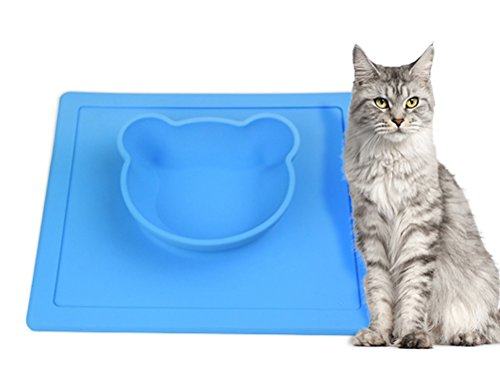 Freerun Silicone Placemat Bowl No Spill, Strong Suction, Non Skid Food Grade Silicone Pet Bowl (Blue) (Local Spa World)