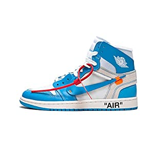 Nike Mens Air Jordan 1 X Off White NRG UNC White/Dark Powder Blue Leather Size 11