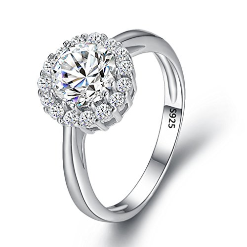 EVER FAITH Women's 925 Sterling Silver CZ Round Cut Halo Bridal Engagement Ring Clear Size 6