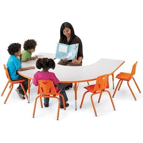 Kydz Activity Table Horseshoe 66 X 60 11 15 Ht Gray Green School Play Furniture