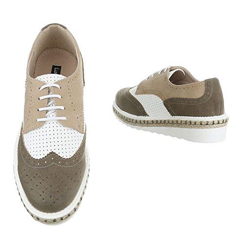 Ital-Design - Zapatos Planos con Cordones Mujer caqui