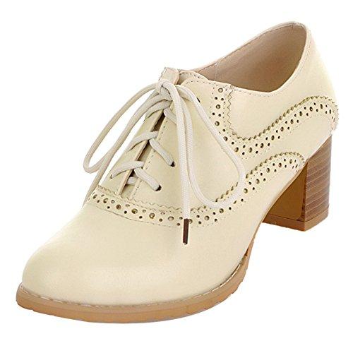 COOLCEPT Damen Mode Heels Court Schuhe Schnurung Beige