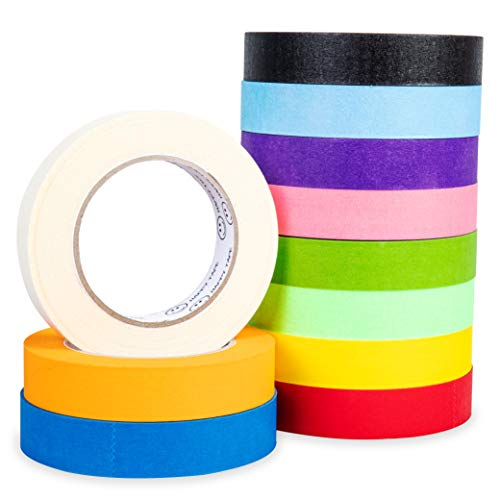 Multi Colored Masking Tape Pack: Bulk Set of 1 Inch Color Craft Tape - Rainbow Assortment of Painter Tape for Kids and Adults - Colorful Washi Tape for Crafting