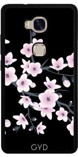 Funda de silicona para Huawei Honor 5X - Elegantes Flores De Color Rosa Negro by Nina Baydur