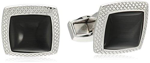 Tateossian Quadrato Fibre Optic Glass Rhodium Black Cuff Link by Tateossian