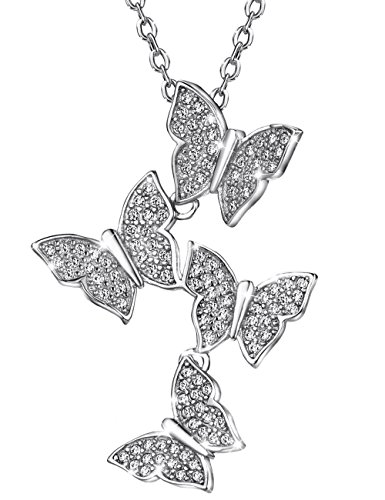 Mints Sterling Silver Pendant Necklace Butterfly Cubic Zirconia Necklaces for Women 16-18 inch