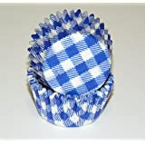 Blue Gingham Cupcake Liners Mini Size 100 count