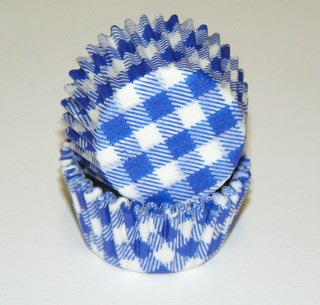 Blue Gingham Cupcake Liners Mini Size 100 (Blue Gingham Mini)