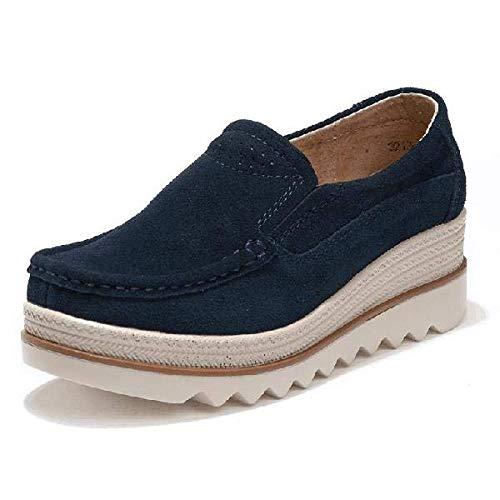 Mujer Cuero 42 Sole de Rocker Qiusa Color Talones Casuales Grandes Zapatos Azul Mocasines de Caqui EU tamaño nH1YYIxv