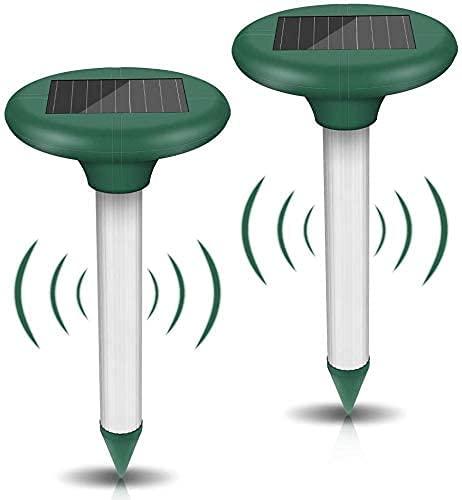 [2 Stück] Wühlmausschreck Solar - Ultrasonic Solar Maulwurfschreck, Maulwurfabwehr mit IP56 Wasserdicht, Maulwurfbekämpfung, Wühlmausschreck, Mole Repellent, Schädlingsbekämpfung für Den Garten (Weiß)