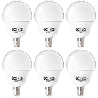 Sunco Lighting 6 Pack G14 LED Globe, 5W=40W, Candelabra Bulb, 450 LM, 4000K Cool White, Small Edison Screw Base E12, Frosted - UL