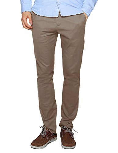 Match Men's Slim Tapered Stretchy Casual Pant (40, 8066 Dark khaki) - Men Formal Pants
