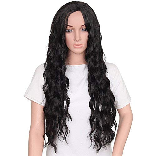 Vigour Beauty Long Wavy Wig Synthetic Natural Curly Wigs Loose Body Wave Full Wigs Heat Resistant Fiber for Women Black Color (Womens Heat Waves)