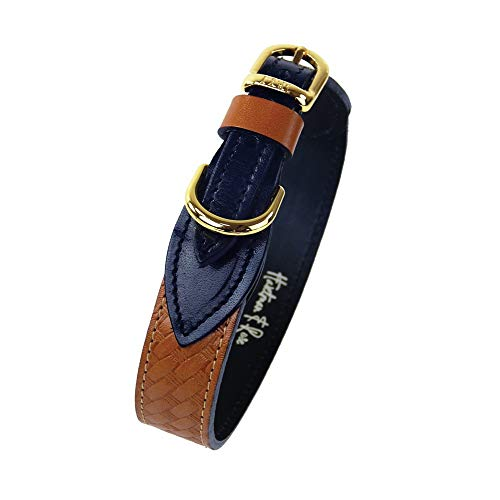 Hartman & Rose Leather Dog Collar with Basketweave Design - Classic Collection Dog Collar Caramel, Small