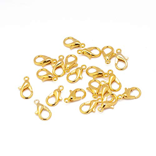Tiparts 100 pcs Lobster Clasps Silver/Gold/Rhodium Plated Alloy Lobster Claw Clasps DIY Jewelry Finding Making (Gold, 10x5mm)