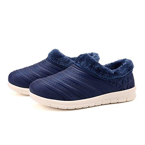 Mules Bleu Hiver Peluche Femme Foncé Chaud Outdoor Imperméable Intérieure Loisirs Homme Hishoes Pantoufles Coton Chaussures 44 Chaussures Doublure 36 ERTwq7Efx