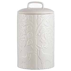 Mason Cash In the Forest Tea Jar, Durable Stoneware Canister with Airtight Lid for Dry Goods, Intricate Embossed Design, 75-Fluid Ounce Capacity, Cream