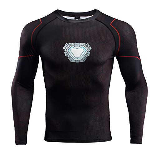 Infinite War III Long Sleeve Iron Man Compression Shirt (Medium, Black)