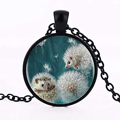 Metal Color: 2, Length: 1 Davitu 3 Colors 2017 New Dandelion and Hedgehog Silver Pendant Necklace Long Chian Statement Handmade Vintage Necklace