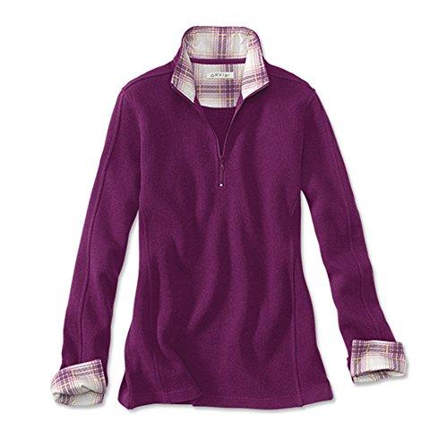 Orvis Signature Softest Print-Trimmed Quarter-Zip Sweatshirt, Plum, (Button Trimmed Sweater)