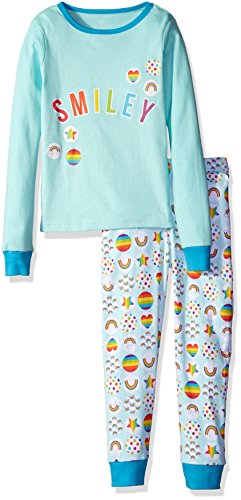 The Children's Place Big Girls' Long Sleeve Top and Pants Pajama Set, Smiley/Icelandic 65444, 10 ()