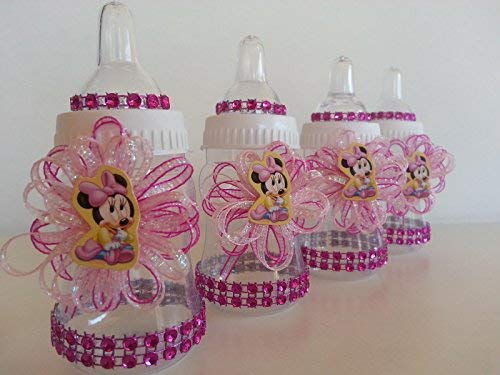 - 12 Minnie Mouse Pink Fillable Bottles Baby Shower Favors Prizes Girl Decorations