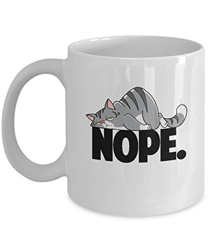 Nope Not Today Cunning Worn Out Unmotivated Kitty Cat Gift Mug