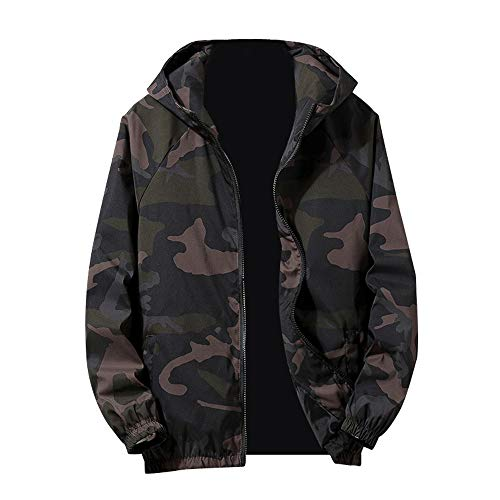 Hoodies For Men, Clearance Sale! Pervobs Mens Autumn Camouflage Long Sleeve Zip-up Pocket Sports Hoodies Jacket Coat(XL, Green)