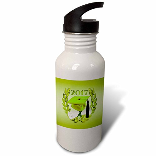 3dRose Beverly Turner Graduation Design - Graduation Cap and Diploma on Leaves, 2017, Line Green, Black - Flip Straw 21oz Water Bottle (wb_239611_2)]()