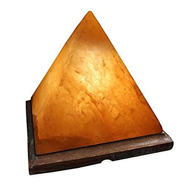 Crystal Allies Gallery: CA SLS-PYR-S Natural Himalayan Pyramid Salt Lamp Ionic Air Purifier on Wood Base with Cord, Light Bulb & Authentic Crystal Allies Info Card