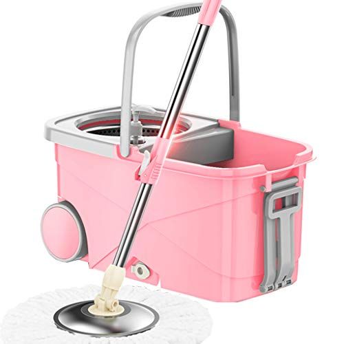 FLHAINVER Stainless steel rotating double drive automatic roller type household mop bucket mop mop free hand wash wet and dry Rotary mop home