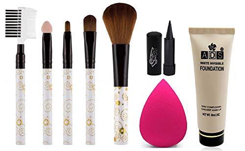 Swipa Kajal+5Pcs Makeup Brush+Blender Puff+Foundation Pack Of 4