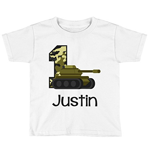 Blu Magnolia Co Boys Army Tank Birthday Shirt Any Age   Personalized with Any Name (White, 18 Month Shirt)