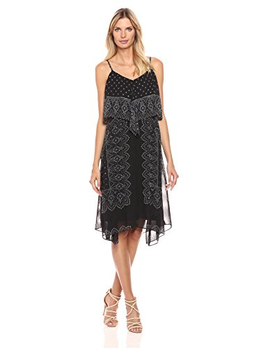 (Nanette Nanette Lepore Women's Placement Print Hanky Hem Dress, Bandana Border Square Very Black, 8)