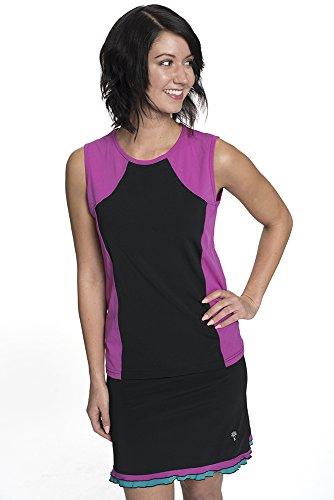 HydroChic Plus Size Tidal Tank Sporty Sleeveless Swim n' Gym Top 1X in Black/Violet