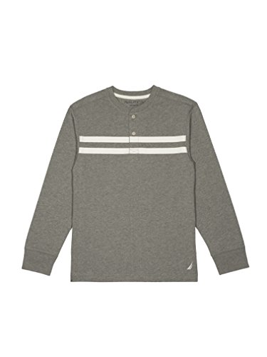 Nautica Little Boys' Long Sleeve Jersey Henley with Stripe , Grey Heather , 7x