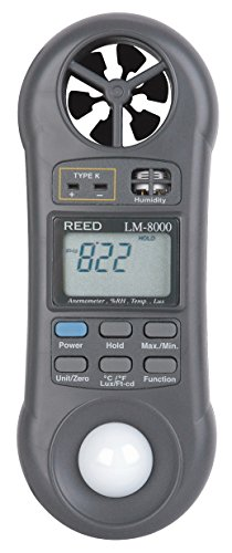 REED Instruments LM-8000 6-in-1 Multi-Function Environmental Meter (Air velocity/temperature, Ambient Temperature, Humidity, Contact Temperature and Light) ()