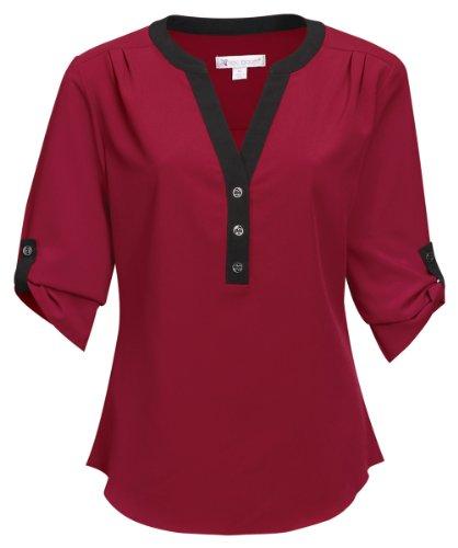 Tri-Mountain Women's 3/4 Sleeve Y-Neck 3-Button Woven Shirt Lilac Bloom Amelia